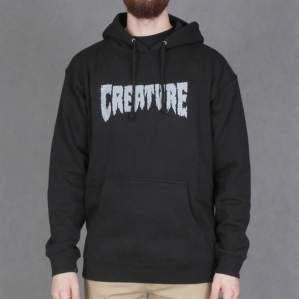 BLUZA CREATURE HOOD SHREDDED BLK